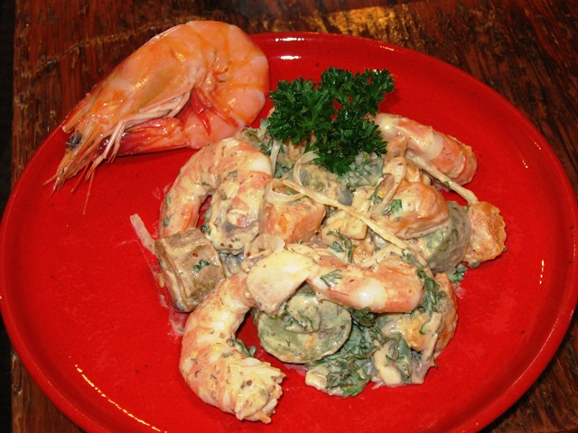 Plated with Shrimp Tossed in Salad