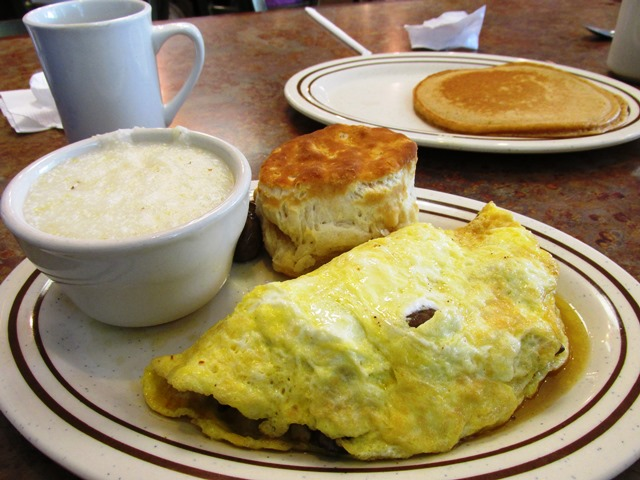 Omelet, Biscuit and Grits