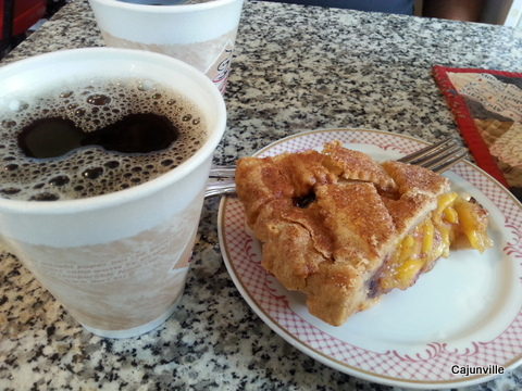 Peach Blueberry Pie and Coffee