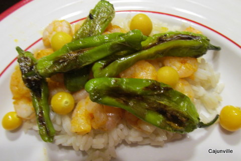 Rice and Shrimp with Shishito Peppers and Ground Cherries